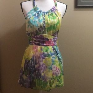 Milly New York Yellow Green Halter Top Blouse sz 2